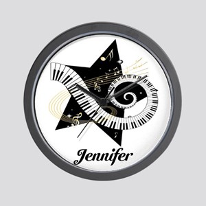 Music star gold black Wall Clock