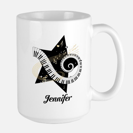 Music star gold black Large Mug