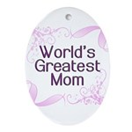 World's Greatest Mom Ornament (Oval)