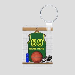 Personalized Basketball Green Aluminum Photo Keych