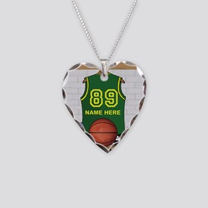 Personalized Basketball Green Necklace Heart Charm