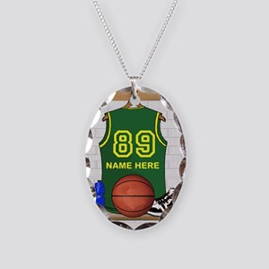 Personalized Basketball Green Necklace Oval Charm