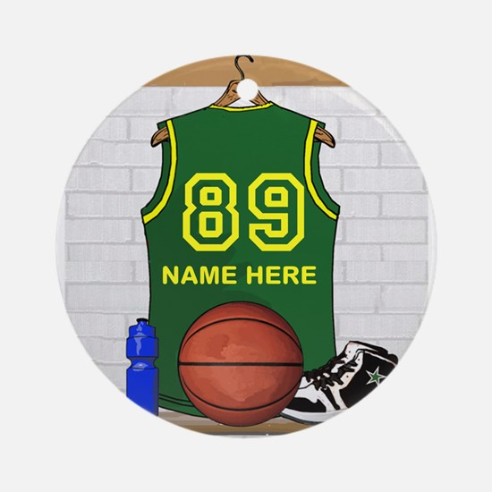 Personalized Basketball Green Ornament (Round)