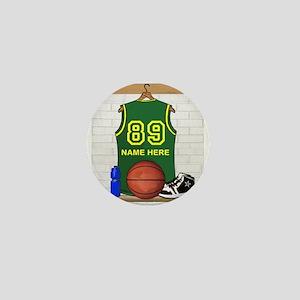 Personalized Basketball Green Mini Button