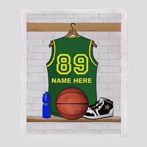 Personalized Basketball Green Throw Blanket