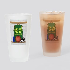 Personalized Basketball Green Drinking Glass