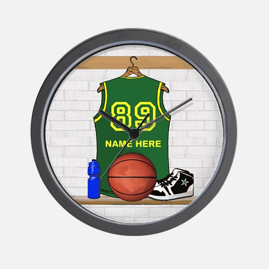 Personalized Basketball Green Wall Clock
