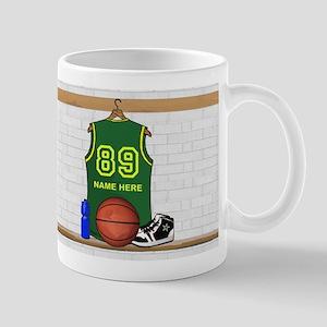 Personalized Basketball Green Mug