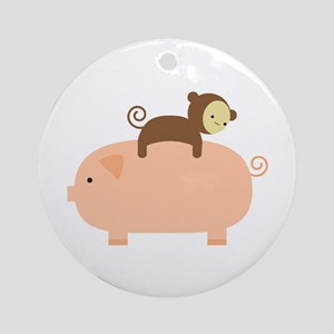 Baby Monkey Riding Backwards Ornament (Round)