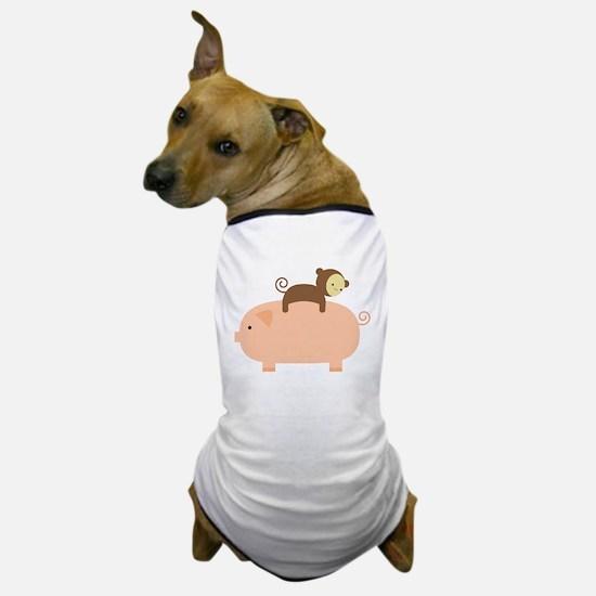 Baby Monkey Riding Backwards Dog T-Shirt