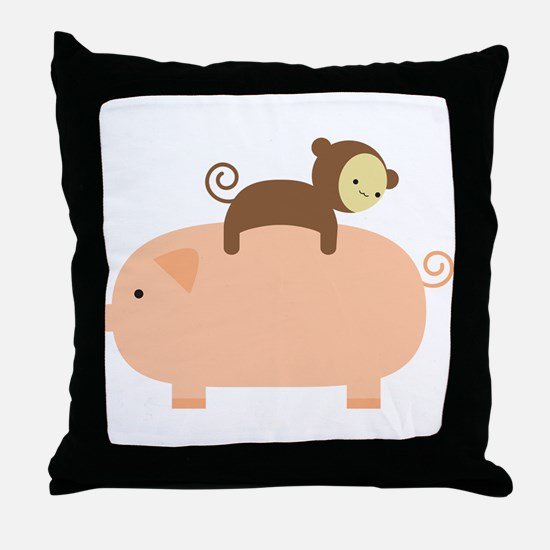 Baby Monkey Riding Backwards Throw Pillow