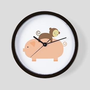Baby Monkey Riding Backwards Wall Clock