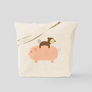 Baby Monkey Riding Backwards Tote Bag