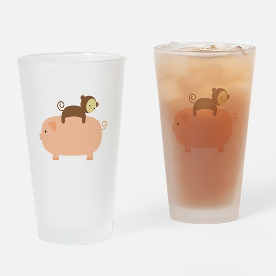 Baby Monkey Riding Backwards Drinking Glass