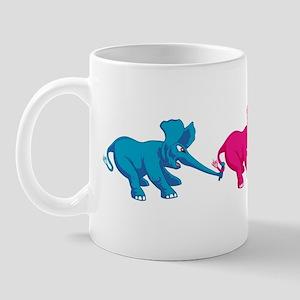 Three Elephant Tug of War Mug