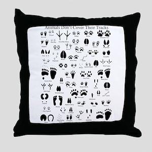 North American Animal Tracks Throw Pillow