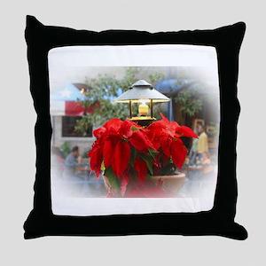Poinsetta Under Glass Throw Pillow