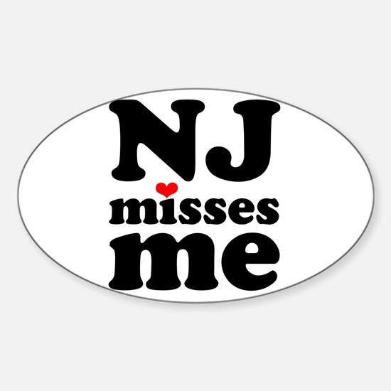 new jersey misses me Sticker (Oval)