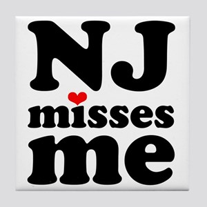 new jersey misses me Tile Coaster