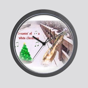 Dulcimers and White Christmas Wall Clock