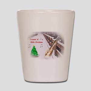 Dulcimers and White Christmas Shot Glass