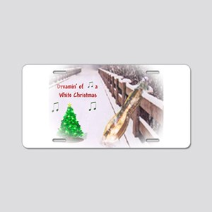 Dulcimers and White Christmas Aluminum License Pla
