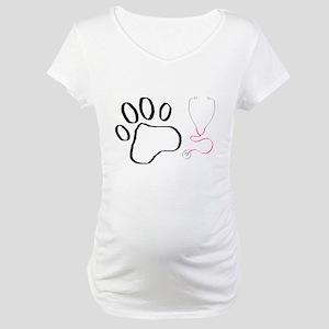 Vet Tech Paw Print + Stethoscope Maternity T-Shirt