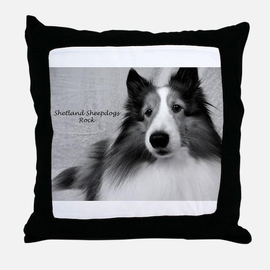 Shetland Sheepdogs Rock Throw Pillow