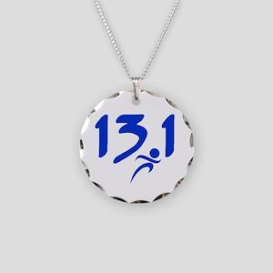 Blue 13.1 half-marathon Necklace Circle Charm