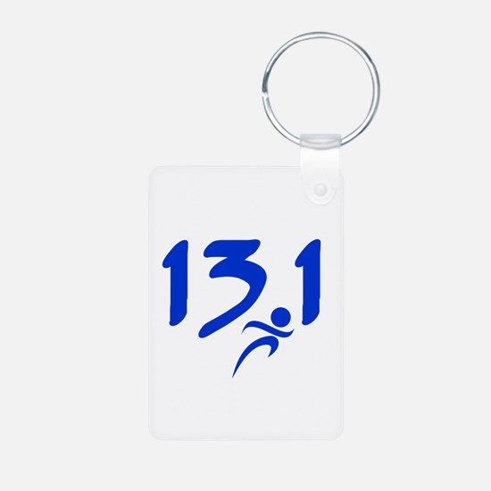 Blue 13.1 half-marathon Keychains