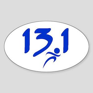 Blue 13.1 half-marathon Sticker (Oval)