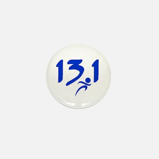 Blue 13.1 half-marathon Mini Button