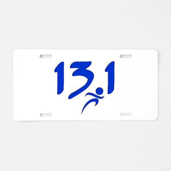 Blue 13.1 half-marathon Aluminum License Plate