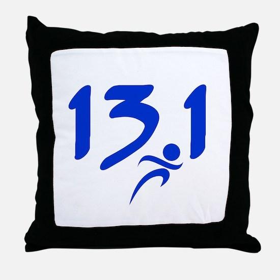 Blue 13.1 half-marathon Throw Pillow