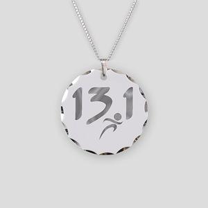 Silver 13.1 half-marathon Necklace Circle Charm