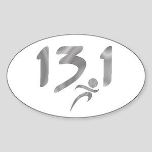 Silver 13.1 half-marathon Sticker (Oval)