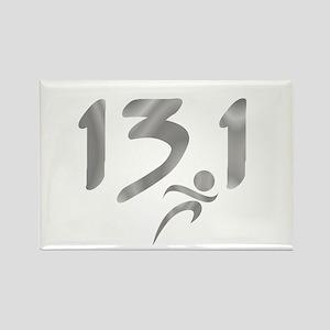 Silver 13.1 half-marathon Rectangle Magnet