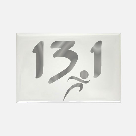 Silver 13.1 half-marathon Rectangle Magnet