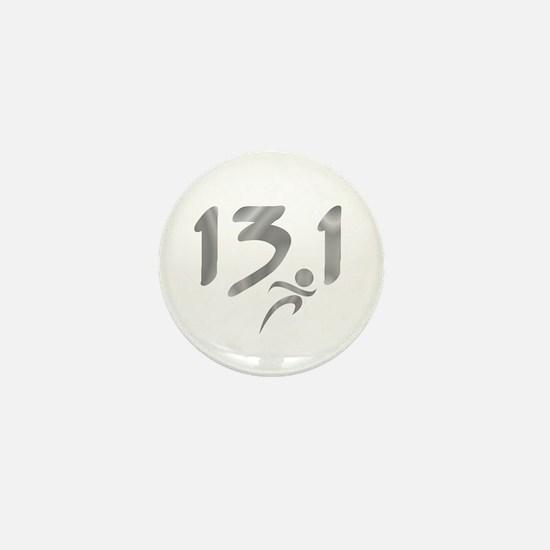 Silver 13.1 half-marathon Mini Button