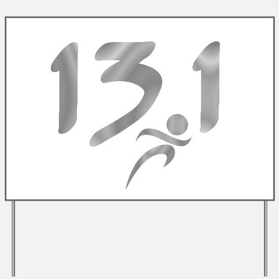 Silver 13.1 half-marathon Yard Sign