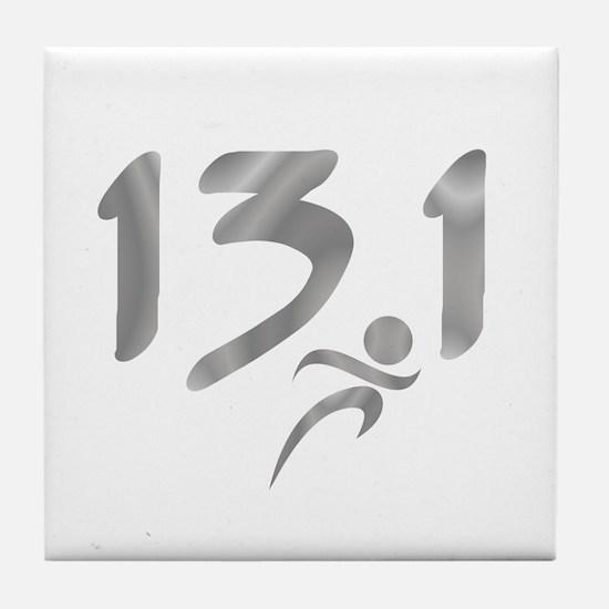 Silver 13.1 half-marathon Tile Coaster