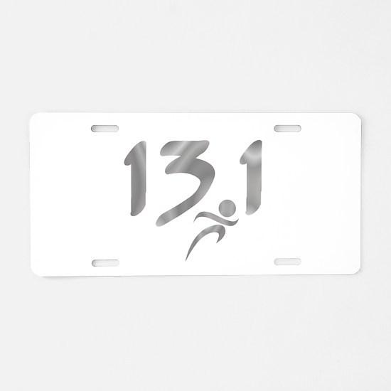 Silver 13.1 half-marathon Aluminum License Plate