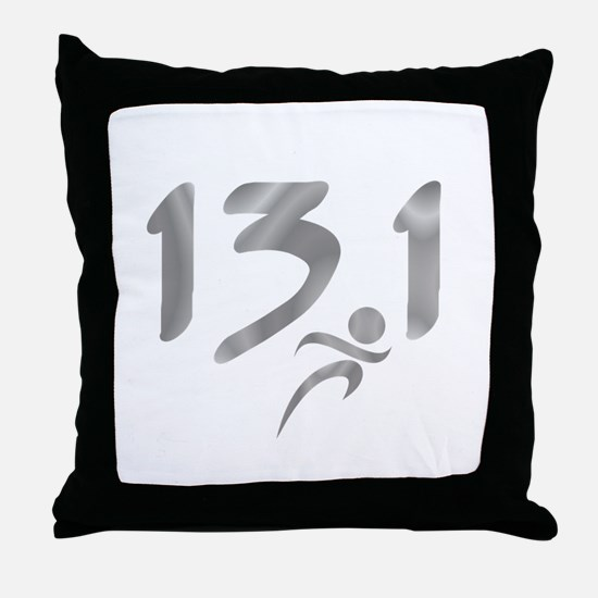 Silver 13.1 half-marathon Throw Pillow