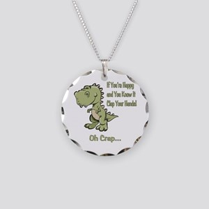 Happy TRex Necklace Circle Charm