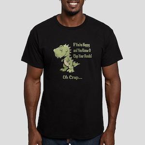 Happy TRex Men's Fitted T-Shirt (dark)