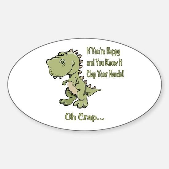 Happy TRex Sticker (Oval)