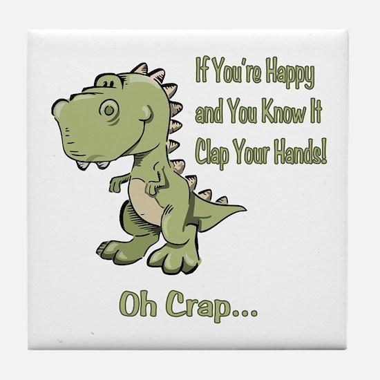Happy TRex Tile Coaster