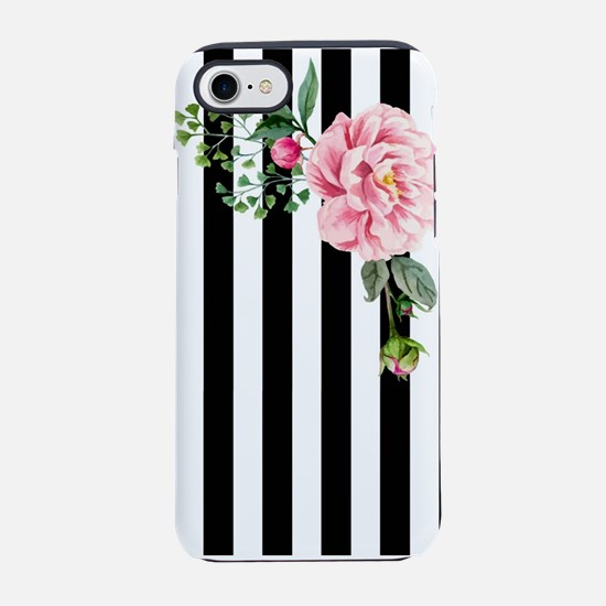 Black & White Pink Watercolor Floral iPhone 7 Toug