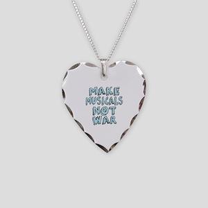 Make Musicals Not War Necklace Heart Charm