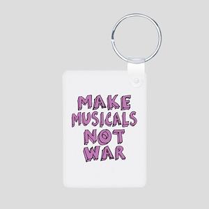 Make Musicals Not War Aluminum Photo Keychain